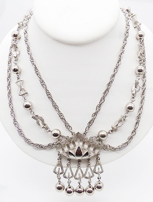 Newly Added Silver Centerpiece Triple Chains Necklace