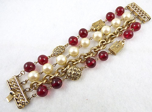 Bracelets - Carolee Red Bead and Pearl Bracelet