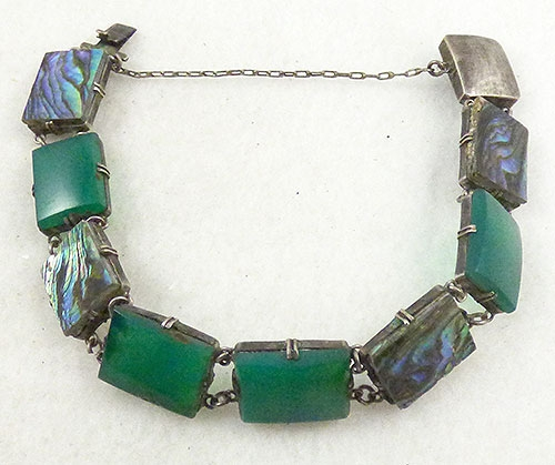 Newly Added Art Deco Chrysoprase Abalone Bracelet