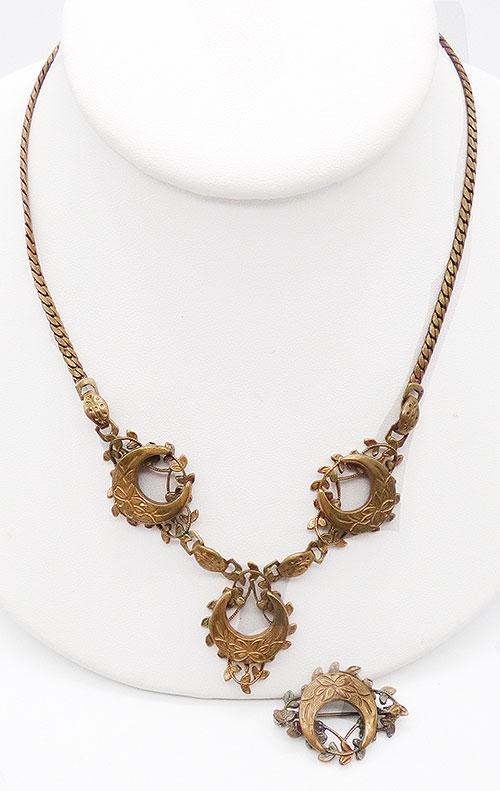 Sets & Parures - Victorian Crescent Moon Necklace Demi