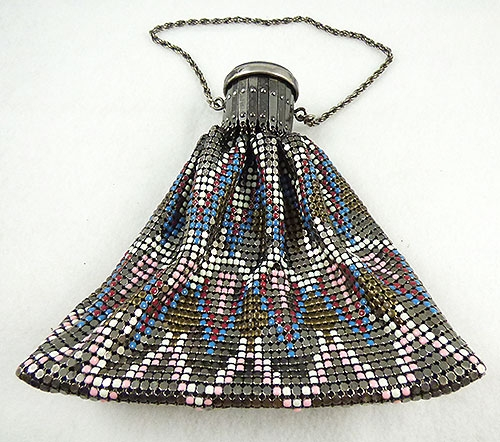 Purses - Art Deco Enamel Mesh Gate Top Purse