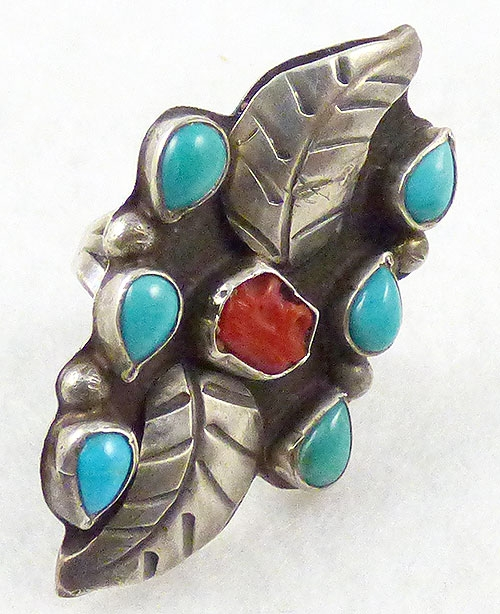 Semi-Precious Gems - Navajo Sterling Turquoise and Coral Leaves Ring