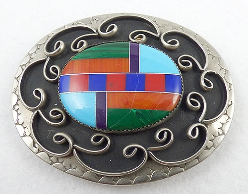 Belts & Buckles - Sothwestern Style Inlay Cabochon Belt Buckle