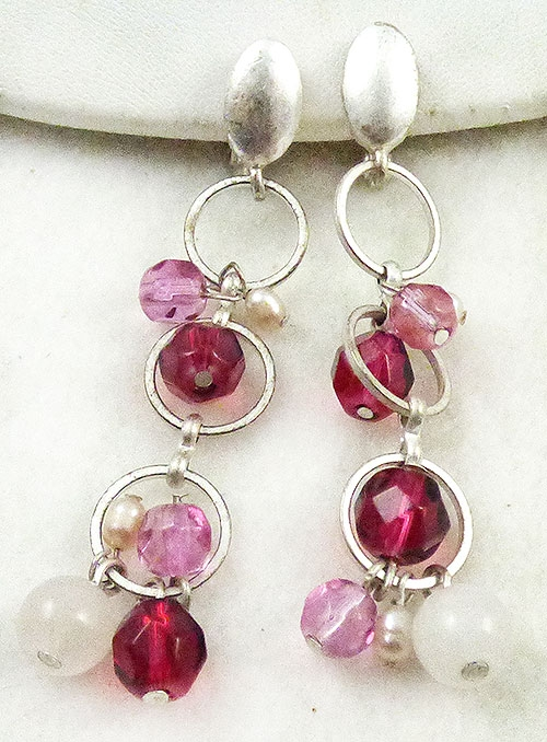 Newly Added Pink Crystal Bead Dangle Earrings