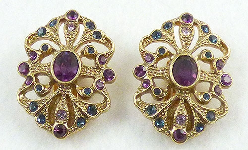 Earrings - Gold Tone Amethyst Rhinestone Earrings