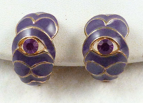 Earrings - Purple Enamel Semi-Hoop Earrings