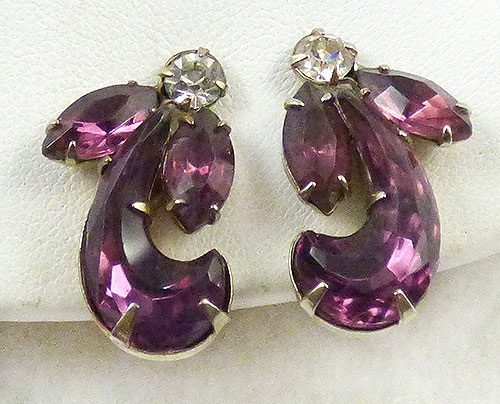 Earrings - Amethyst Rhinestone Earrings