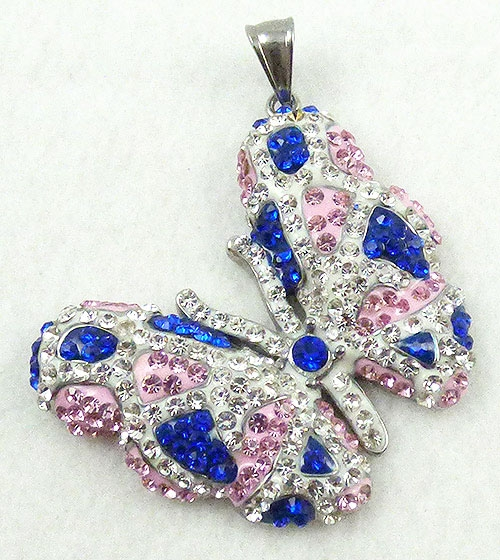 Necklaces - Rhinestone Butterfly Pendant