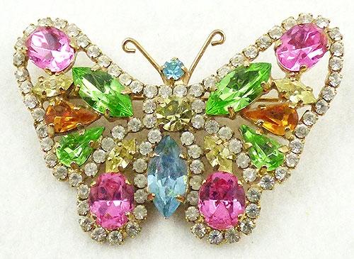 Brooches - Pastel Rhinestone Butterfly Brooch