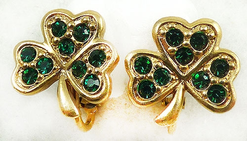 Leaves & Plants - Avon Green Rhinestone Shamrock Earrings