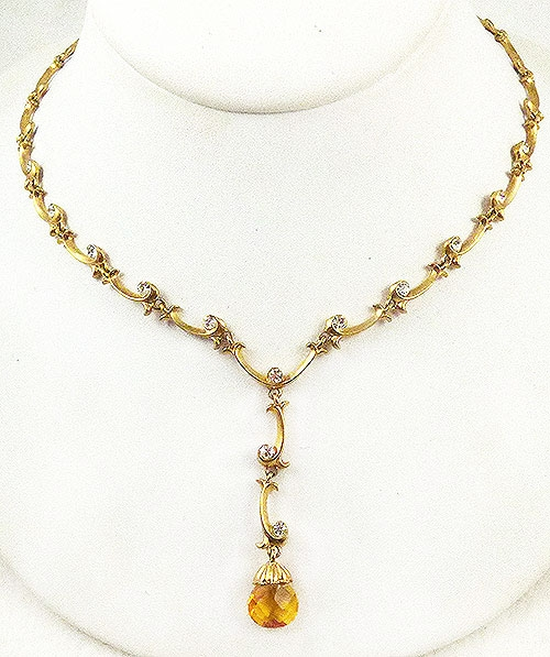 Newly Added Topaz Briolette Drop Gold Link Necklace