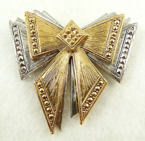 Avon - Avon Gold and Silver Bow Brooch