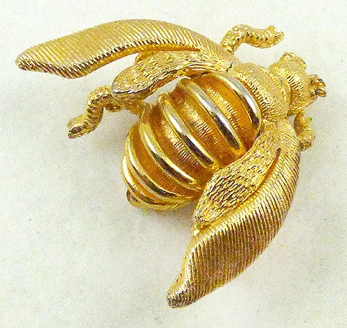 Misc. Signed S-Z - Tancer Gold Bee Brooch