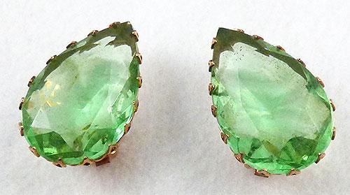 Earrings - Light Green Glass Teardrop Earrings