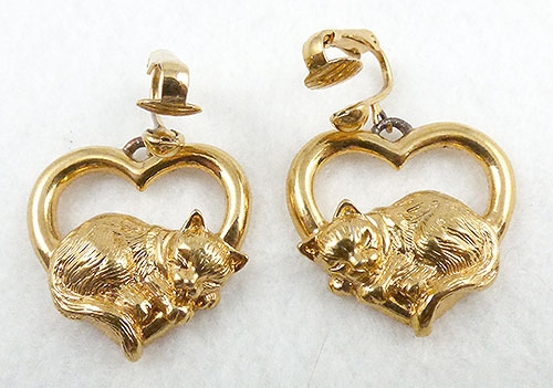 Hearts - Avon Sleeping Cat Heart Earrings