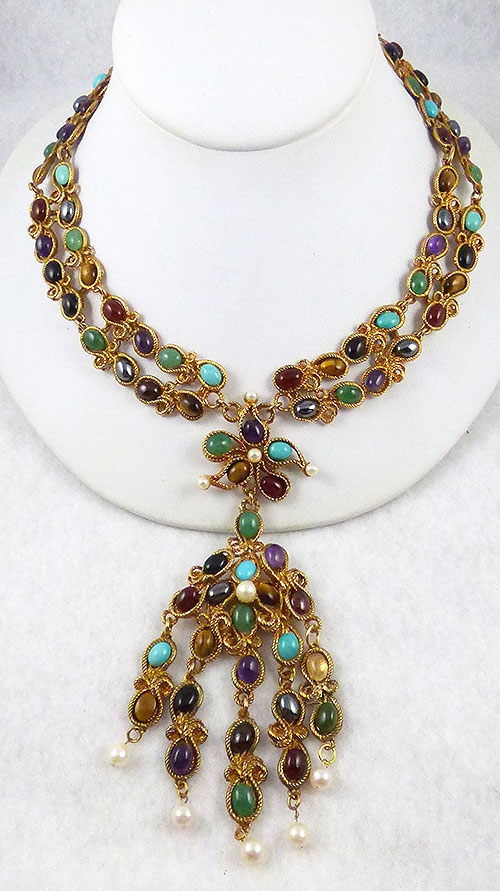 Semi-Precious Gems - Swoboda Gemstone Dangle Necklace