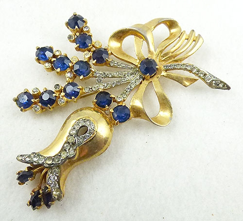 Brooches - Huge Sapphire Rhinestone Floral Bouquet Brooch