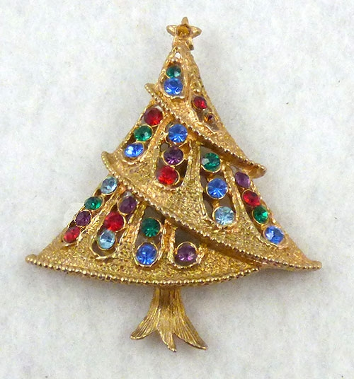 Brooches - J.J. Rhinestone Christmas Tree Brooch