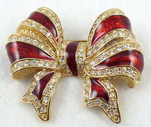 Bows & Ribbons - Roman Red Enamel Bow Brooch
