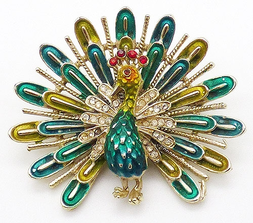 Brooches - Coro Enameled Peacock Brooch