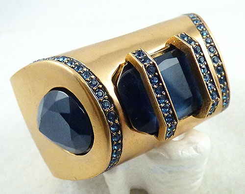 Colors for Fall-Winter 2018-2019 - Oscar de La Renta Navy Stone Cuff Bracelet