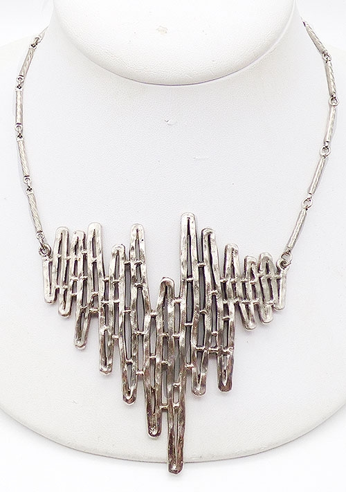 Mid-Century Modern - Celebrity Silver Tone Brutalist Necklace
