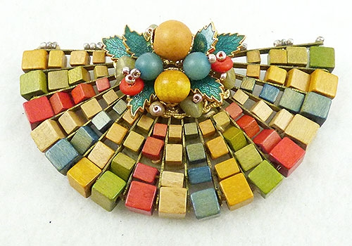 Haskell, Miriam - Miriam Haskell Wood Bead Dress Clip