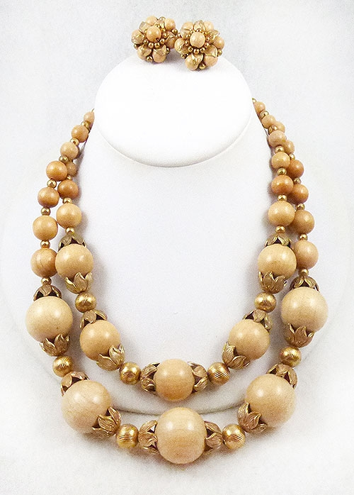 Jonné/Schrager - Jonné Blond Wood Bead Necklace Set