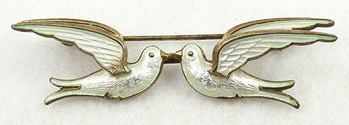 Figural Jewelry - Birds & Fish - Bernard Meldahl Sterling Kissing Doves Brooch
