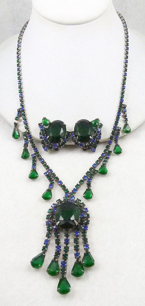 Newly Added Green Rhinestone Necklace Set