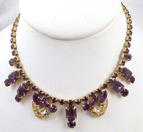 Necklaces - Weiss Amethyst Rhinestone Necklace