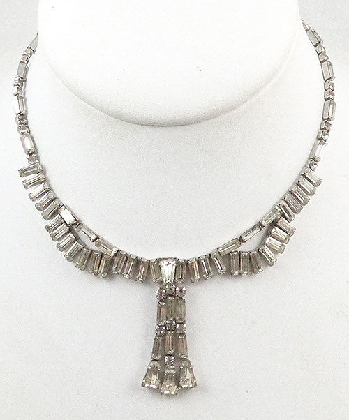 Necklaces - Clear Rhinestone Baguette Necklace