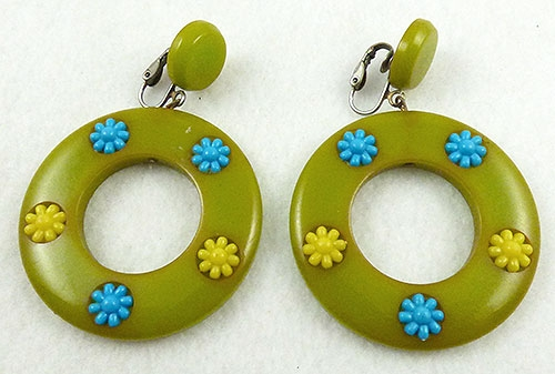 Earrings - Green Bakelite Dangling Hoop Earrings