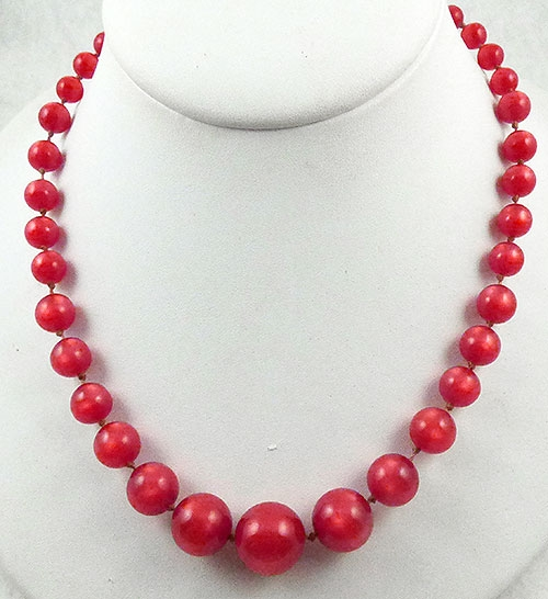Necklaces - Coro Cranberry Moonglow Bead Necklace
