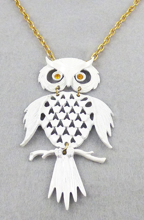 Figural Jewelry - Birds & Fish - White Enamel Owl Pendant Necklace