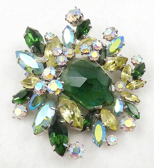Newly Added Green Glass and Yellow Rhinestone Brooch