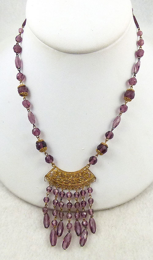 Crystal Bead Jewelry - Czech Amethyst Crystal Beads Necklace
