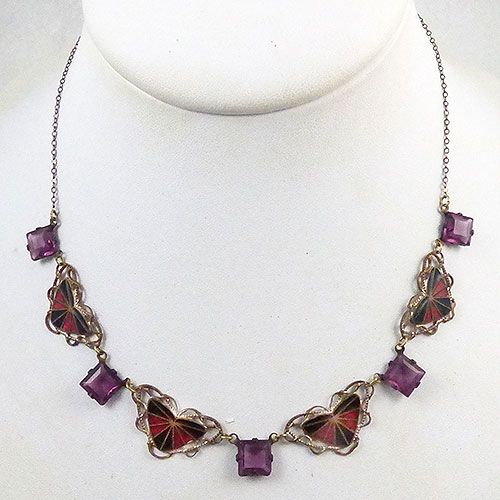 Newly Added Art Deco Enamel and Amethyst Glass Necklace