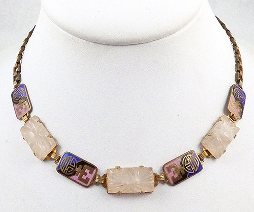 Necklaces - Art Deco Camphor Glass and Enamel Link Necklace