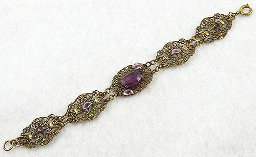 Czechoslovakia - Czech Brass Filigree Amethyst Glass Bracelet