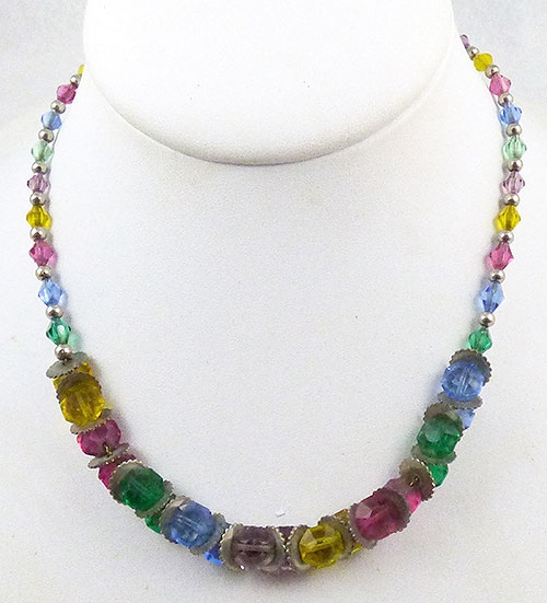 Crystal Bead Jewelry - Multi-Colored Crystal Bead Necklace