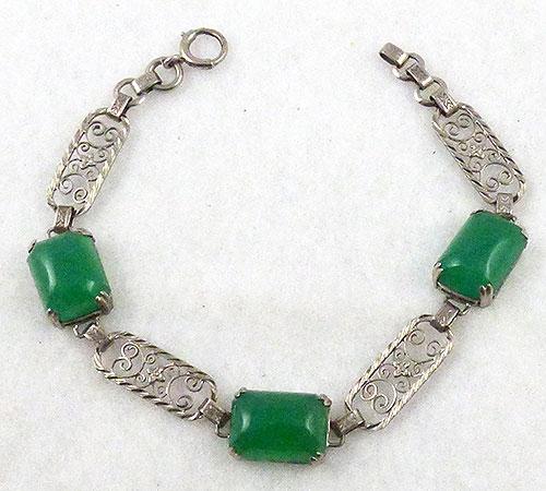 Bracelets - Art Deco Sterling Chrysoprase Bracelet