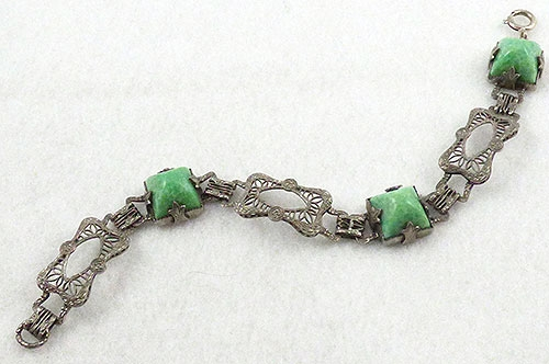 Bracelets - Art Deco Sterling Filigree Green Sugarloaf Cabochon Bracelet