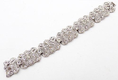 Bracelets - Art Deco Clear Rhinestone Bracelet