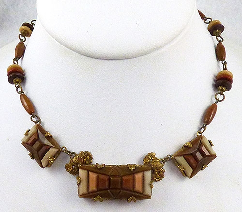 Autumn Fall Colors Jewelry - Czech Brown Step Glass Necklace
