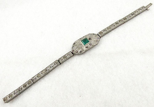 Bracelets - Art Deco Rhinestone and Emerald Bracelet