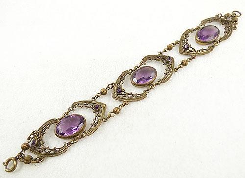 Bracelets - Czech Amethyst Glass Brass Filigree Bracelet
