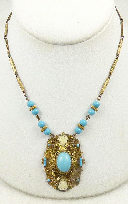 Newly Added Czech Aqua Glass Necklace
