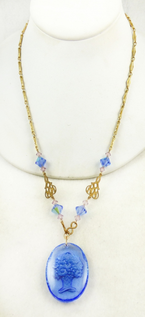 Necklaces - Blue Glass Intaglio Flower Basket Necklace