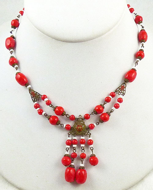 Necklaces - Czech Red Glass Bead Necklace